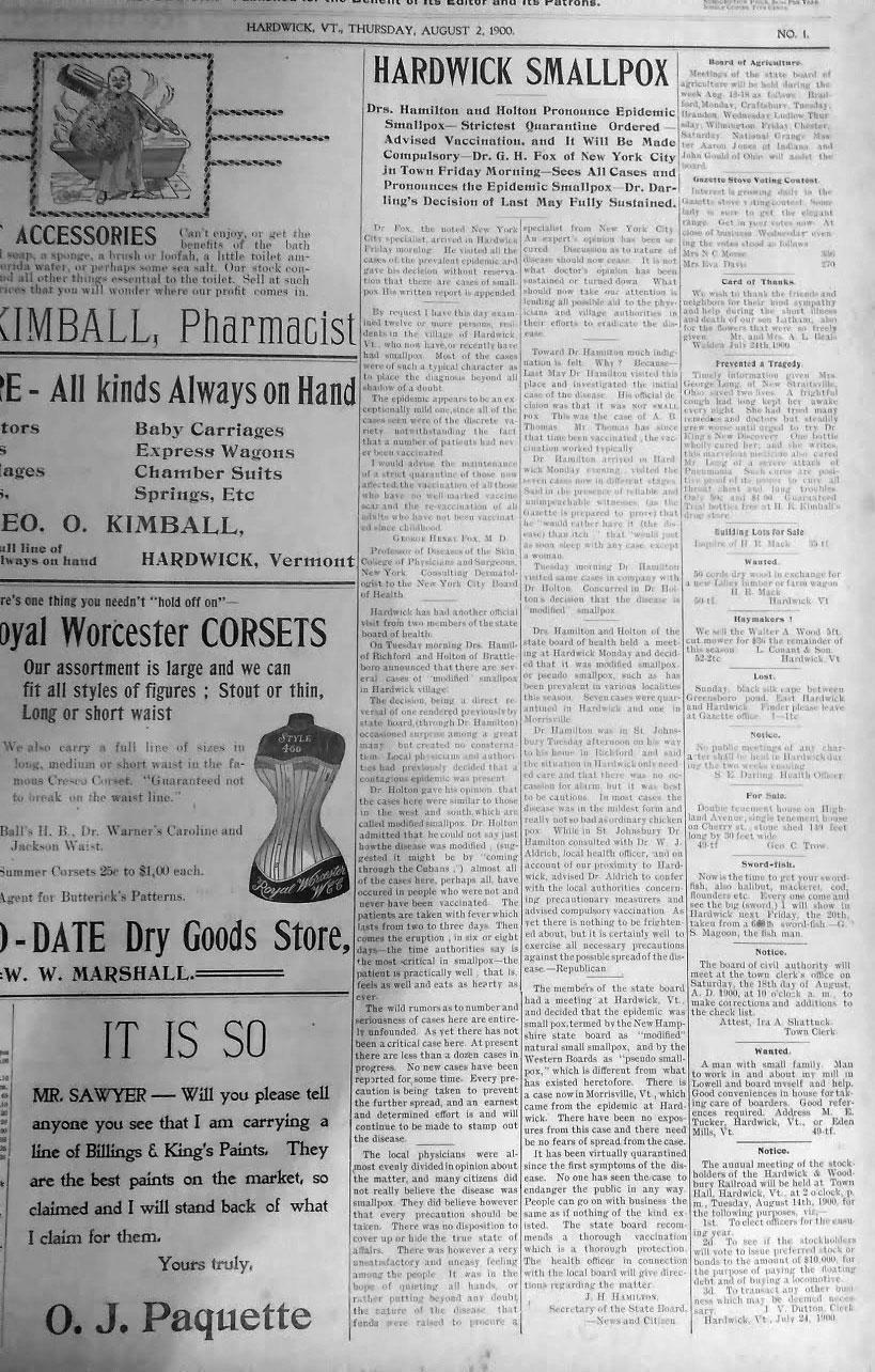 Smallpox Outbreak in Hardwick VT 1900