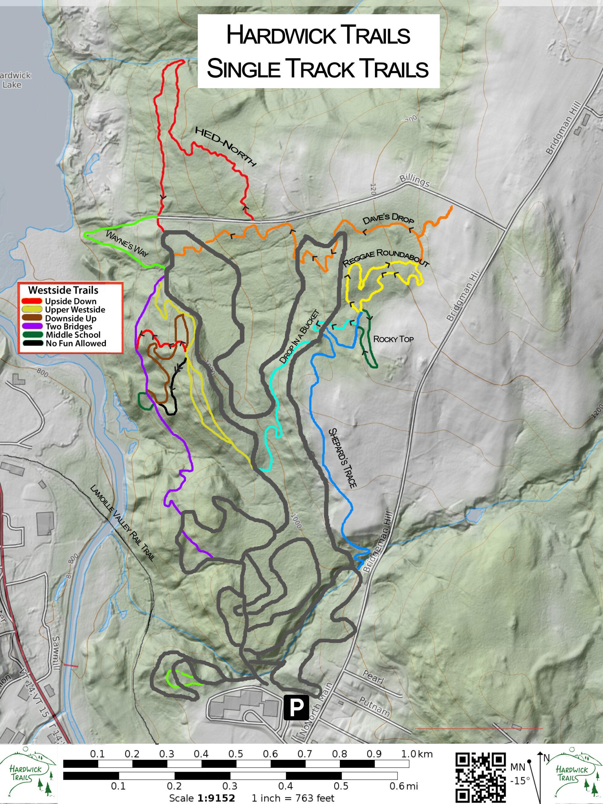 Hardwick Trails Map Single Track trails