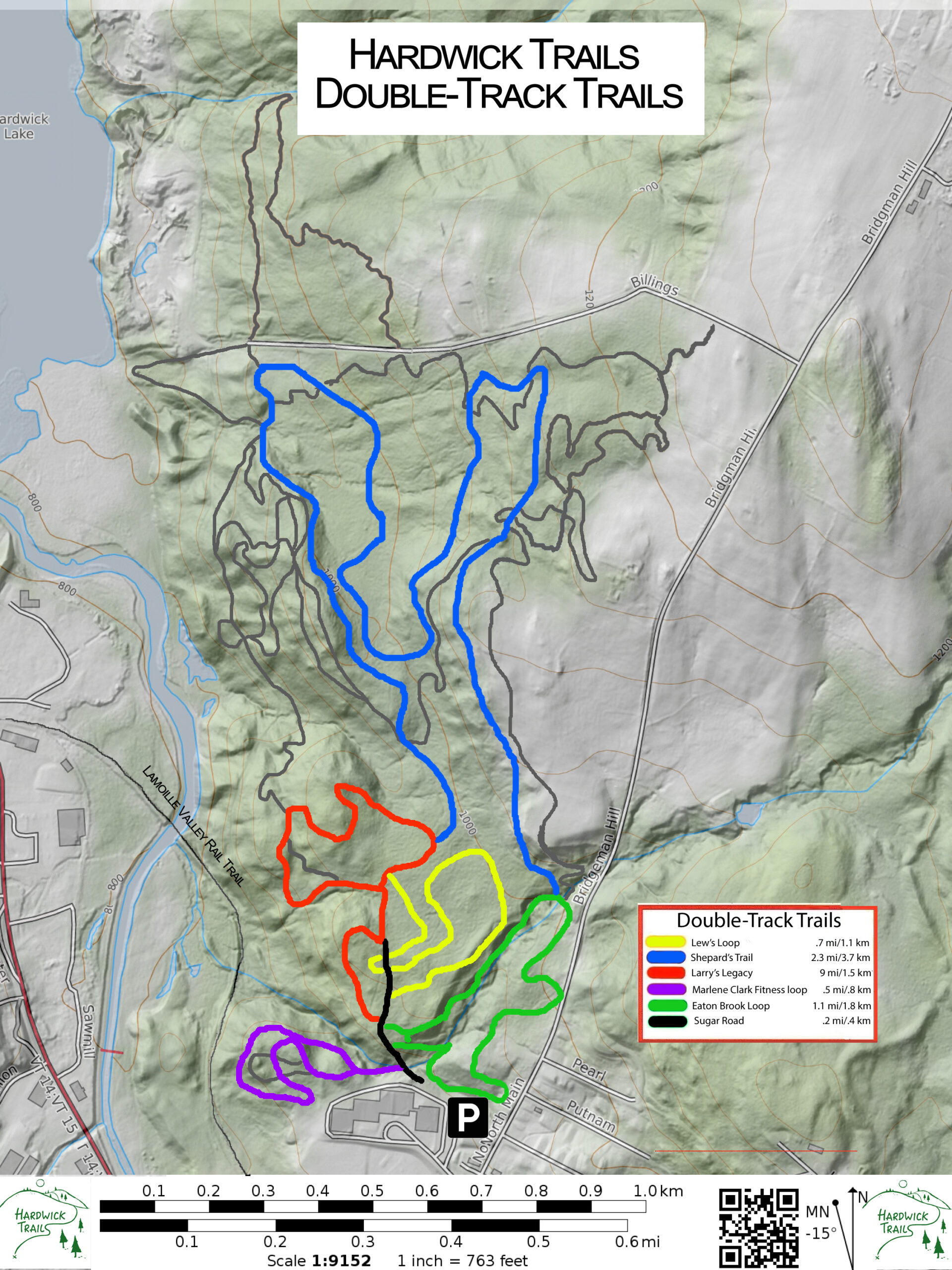 Hardwick Trails Map--Double Track Trails